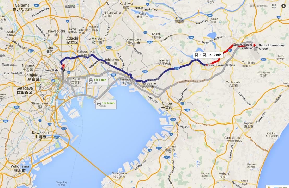 Narita to Ueno station by rail